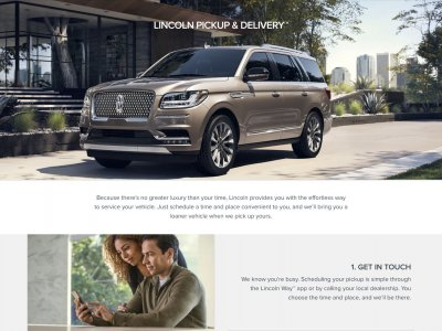 Strona Lincoln Pick-up and Delivery website screenshot