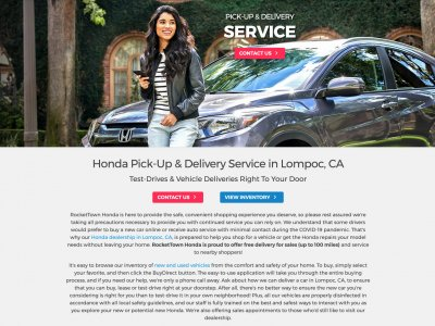 Strona Honda Pick-up and Delivery Service website screenshot